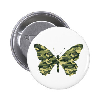 Camouflage Butterfly Silhouette Button
