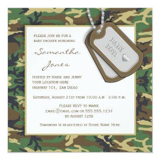 """Camouflage / Camo Baby Boy Shower Invite 5.25"""" Square Invitation Card"""