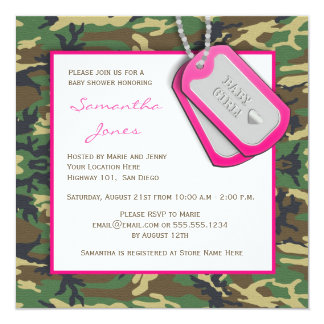Camouflage / Camo Baby Girl Shower Invite