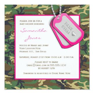 Camouflage / Camo Baby Girl Shower Invite