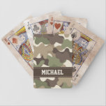 "Camouflage Camo Bicycle&#174; Playing Cards<br><div class=""desc"">This camouflage and camo playing cards set can be personalized with your name on it. It makes a great gift for an avid hunter,  fisherman or military person. Designed by Chrissy H. Studios,  LLC. All Rights Reserved.</div>"