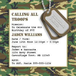 Camo birthday invitations announcements zazzle camouflage camo birthday party with dog tags card bookmarktalkfo Image collections