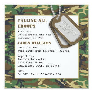 Dog birthday invitations announcements zazzle camouflage camo birthday party with dog tags card filmwisefo Gallery
