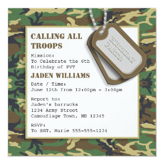 Camouflage / Camo Birthday Party with Dog Tags Card