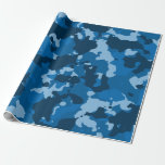 Camouflage Camo Blue Navy Military Wrapping Paper