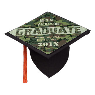 Camouflage Camo Graduation Personalized Name Class Graduation Cap Topper