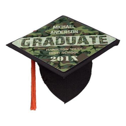 Camouflage Camo Graduation Personalized Name Class Graduation Cap Topper