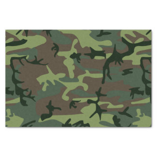 "Camouflage Camo Green Brown Pattern 10"" X 15"" Tissue Paper"