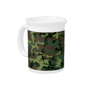 Camouflage Camo Green Brown Pattern Beverage Pitcher