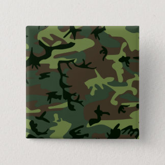 Camouflage Camo Green Brown Pattern Button
