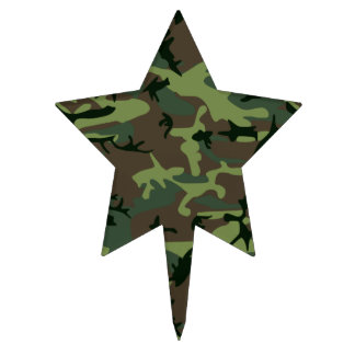 Camouflage Camo Green Brown Pattern Cake Topper