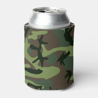 Camouflage Camo Green Brown Pattern Can Cooler