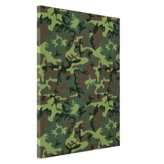 Camouflage Camo Green Brown Pattern Canvas Print