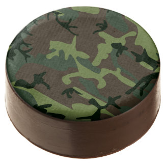 Camouflage Camo Green Brown Pattern Chocolate Dipped Oreo