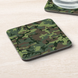 Camouflage Camo Green Brown Pattern Drink Coaster