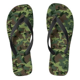 Camouflage Camo Green Brown Pattern Flip Flops