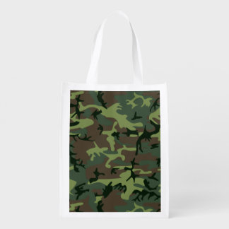 Camouflage Camo Green Brown Pattern Grocery Bag