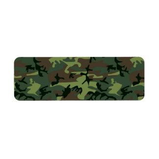 Camouflage Camo Green Brown Pattern Return Address Label