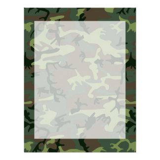 Camouflage Camo Green Brown Pattern Letterhead