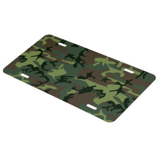 Camouflage Camo Green Brown Pattern License Plate