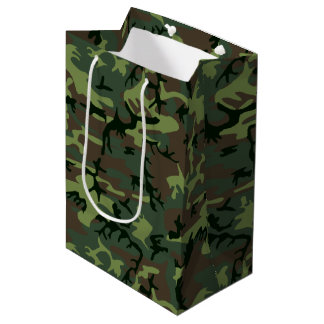 Camouflage Camo Green Brown Pattern Medium Gift Bag