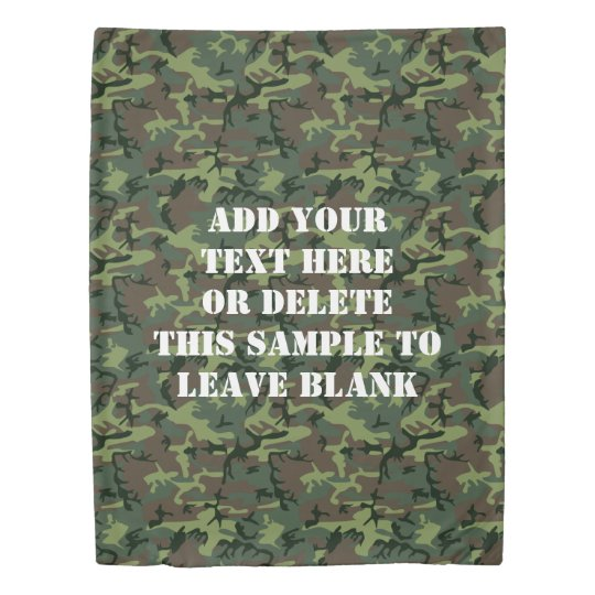 camouflage camo green brown pattern personalized duvet cover