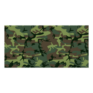Camouflage Camo Green Brown Pattern Photo Card