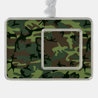 Camouflage Camo Green Brown Pattern Silver Plated Framed Ornament