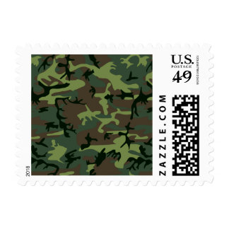 Camouflage Camo Green Brown Pattern Postage