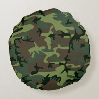Camouflage Camo Green Brown Pattern Round Pillow