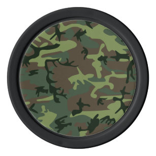 Camouflage Camo Green Brown Pattern Set Of Poker Chips