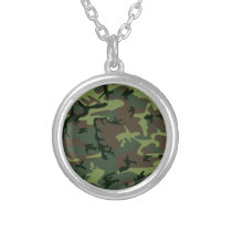 Camouflage Camo Green Brown Pattern Silver Plated Necklace