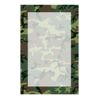 Camouflage Camo Green Brown Pattern Stationery