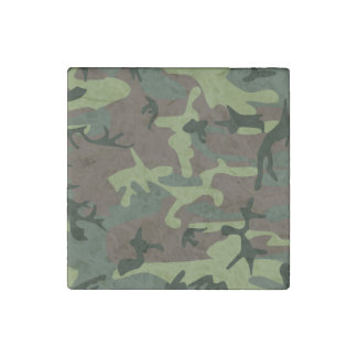 Camouflage Camo Green Brown Pattern Stone Magnet