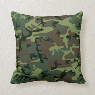 Camouflage Camo Green Brown Pattern Throw Pillow