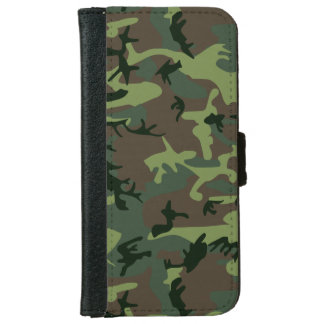 Camouflage Camo Green Brown Pattern Wallet Phone Case For iPhone 6/6s
