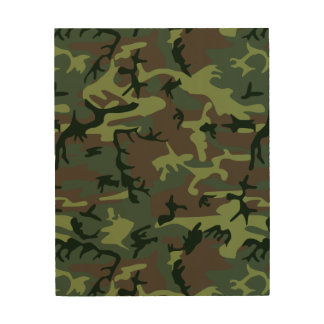 Camouflage Camo Green Brown Pattern Wood Wall Art