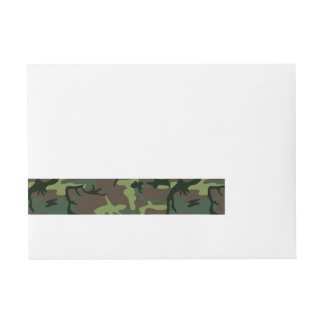 Camouflage Camo Green Brown Pattern Wrap Around Address Label