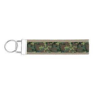 Camouflage Camo Green Brown Pattern Wrist Keychain