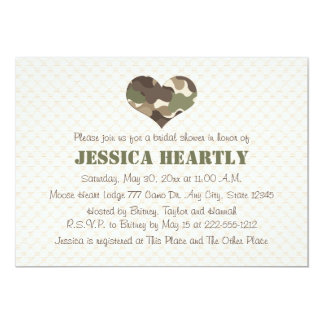Camouflage Camo Heart Bridal Shower Invitations