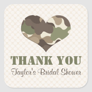 Camouflage Camo Heart Thank You Sticker Label
