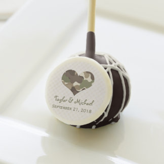CAMOUFLAGE CAMO HEART WEDDING CAKE POPS