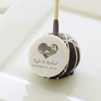CAMOUFLAGE CAMO HEART WEDDING CAKE POPS