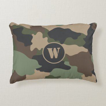Camouflage Camo Military Khaki Green Tan Monogram Accent Pillow