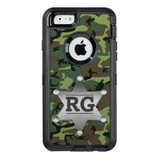 Camouflage Camo Sheriff Badge Green | Monogram OtterBox Defender iPhone Case