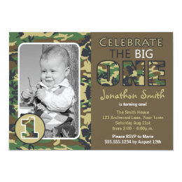 Camouflage birthday cards greeting photo cards zazzle camouflage camo theme first birthday card bookmarktalkfo Image collections