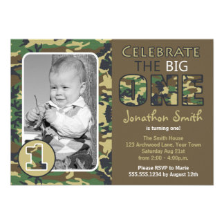 Camouflage Camo Theme First Birthday Personalized Invitation