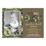 Camouflage / Camo Theme First Birthday 4.5x6.25 Paper Invitation Card
