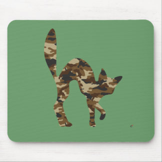 Camouflage Cat Silhouette Mouse Mat