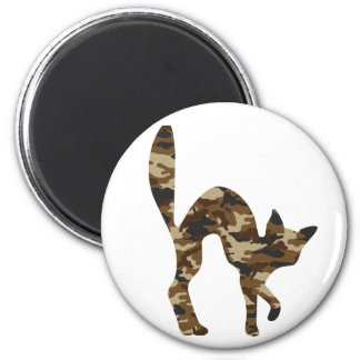 Camouflage Cat Silhouette Refrigerator Magnet